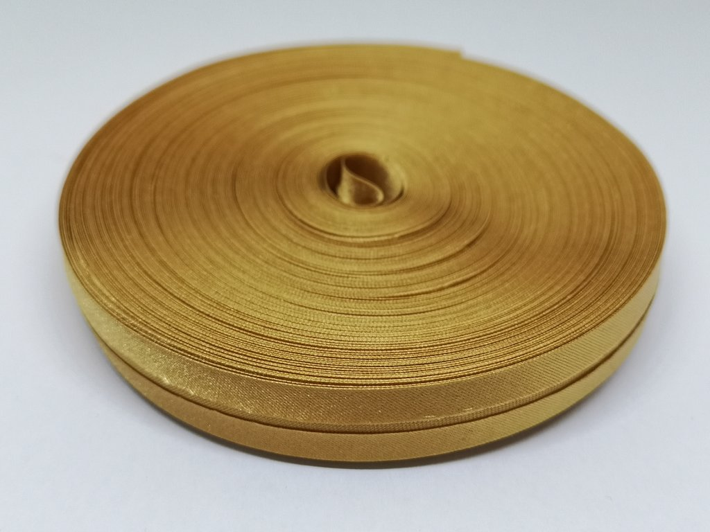 Šikmý prúžok saténový 14mm zlatý