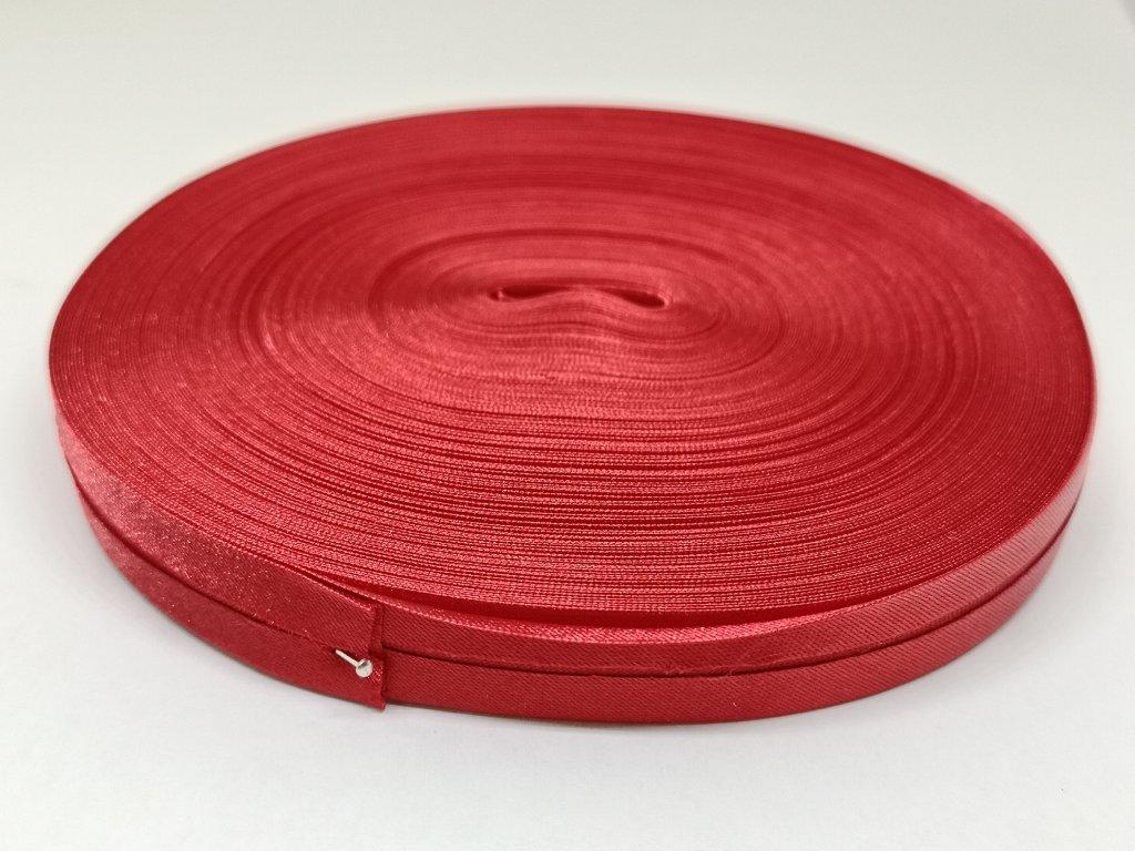 Šikmý prúžok saténový 14mm tmavo červený