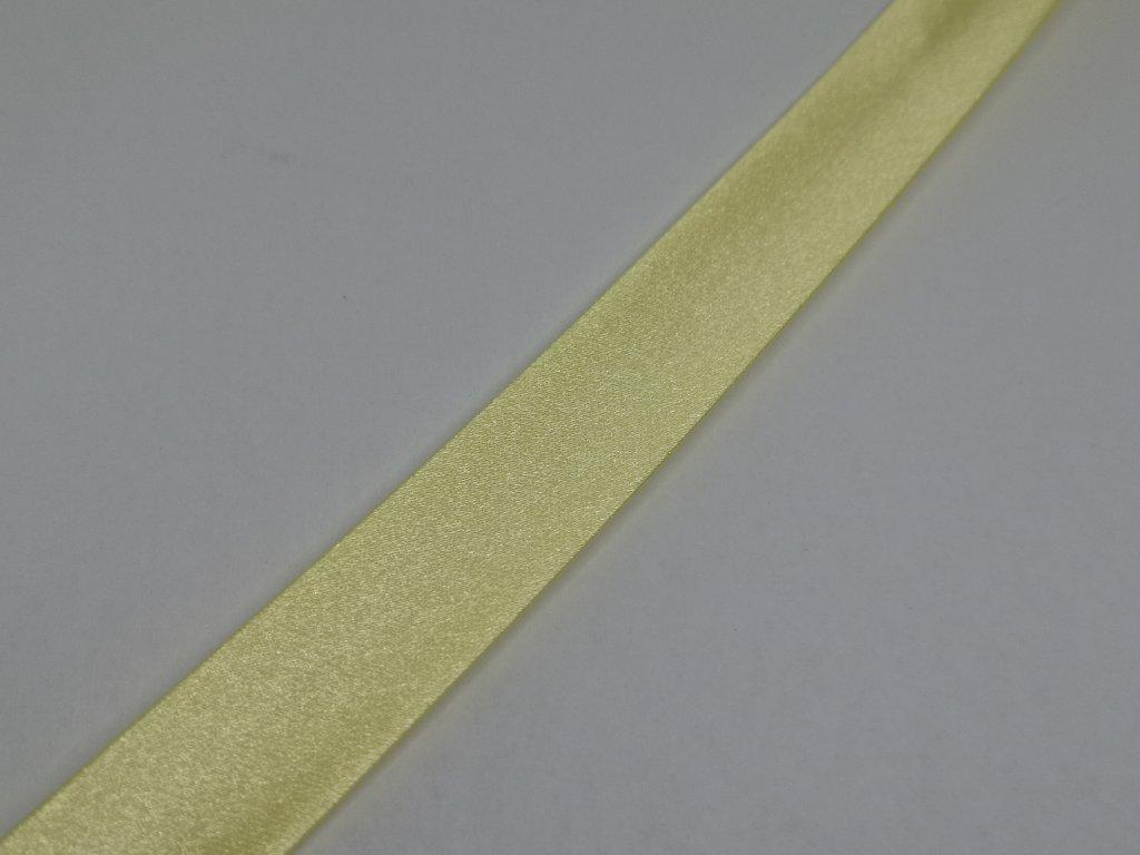 Šikmý prúžok saténový 18mm svetlo žltý