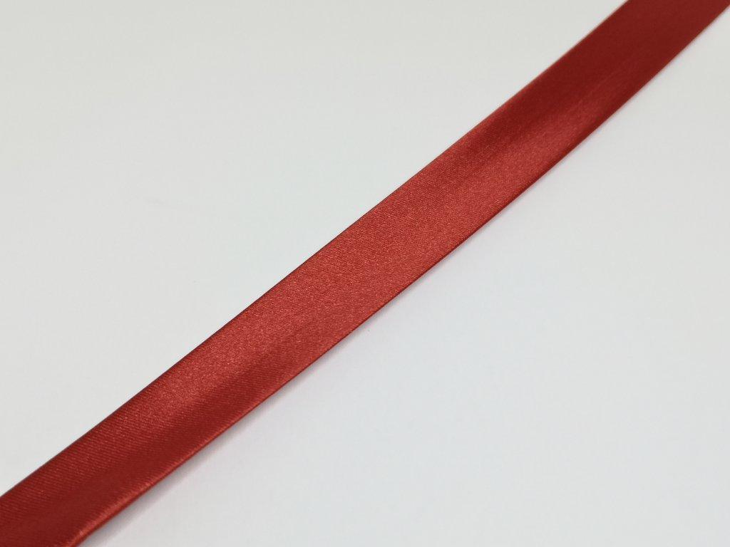 Šikmý prúžok saténový 18mm tmavo červený