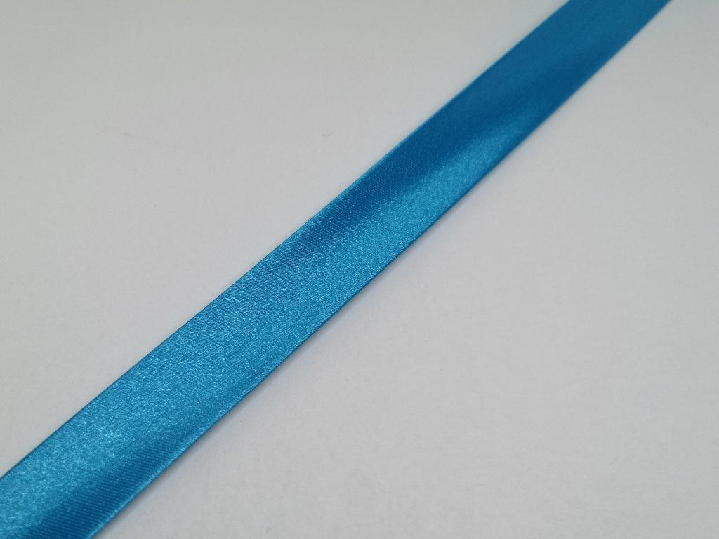 Šikmý prúžok saténový 18mm tyrkysovo modrý