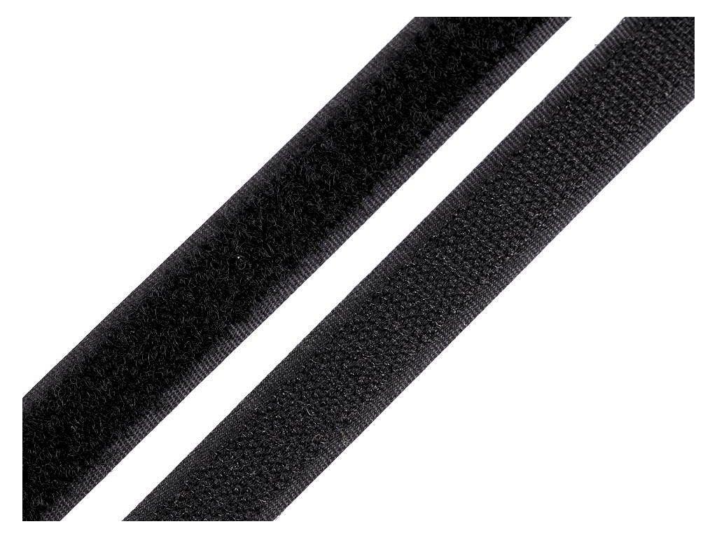 Suchý zips háčik + plyš 16mm čierny