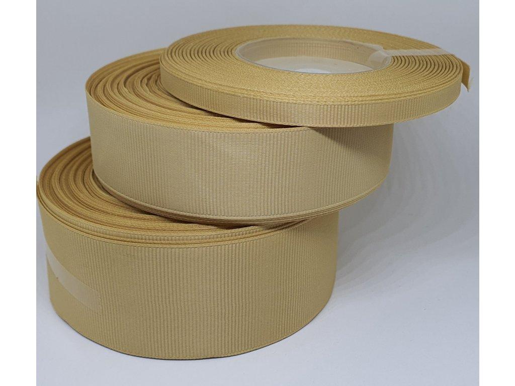 Rypsová stuha 25mm svetlá zlatá 100