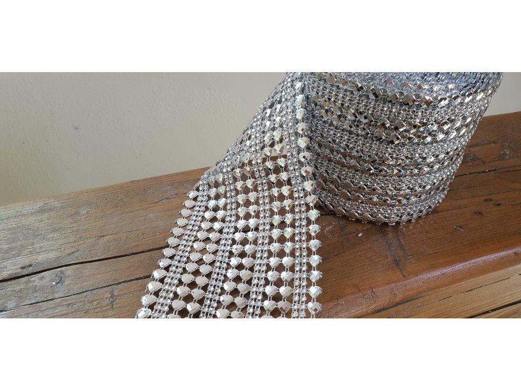 Diamantový pás 11,5cm srdce strieborný
