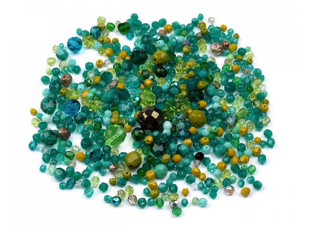 Sklenené koráliky ramš ohňovky zelené 50g