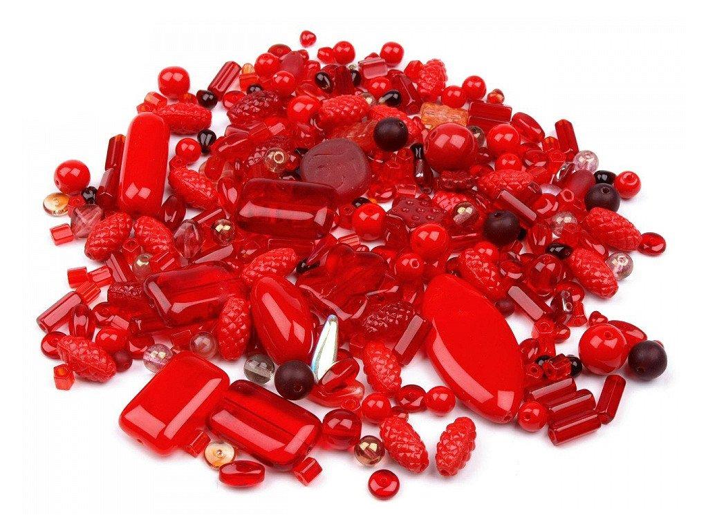 Sklenené koráliky ramš červené 50g