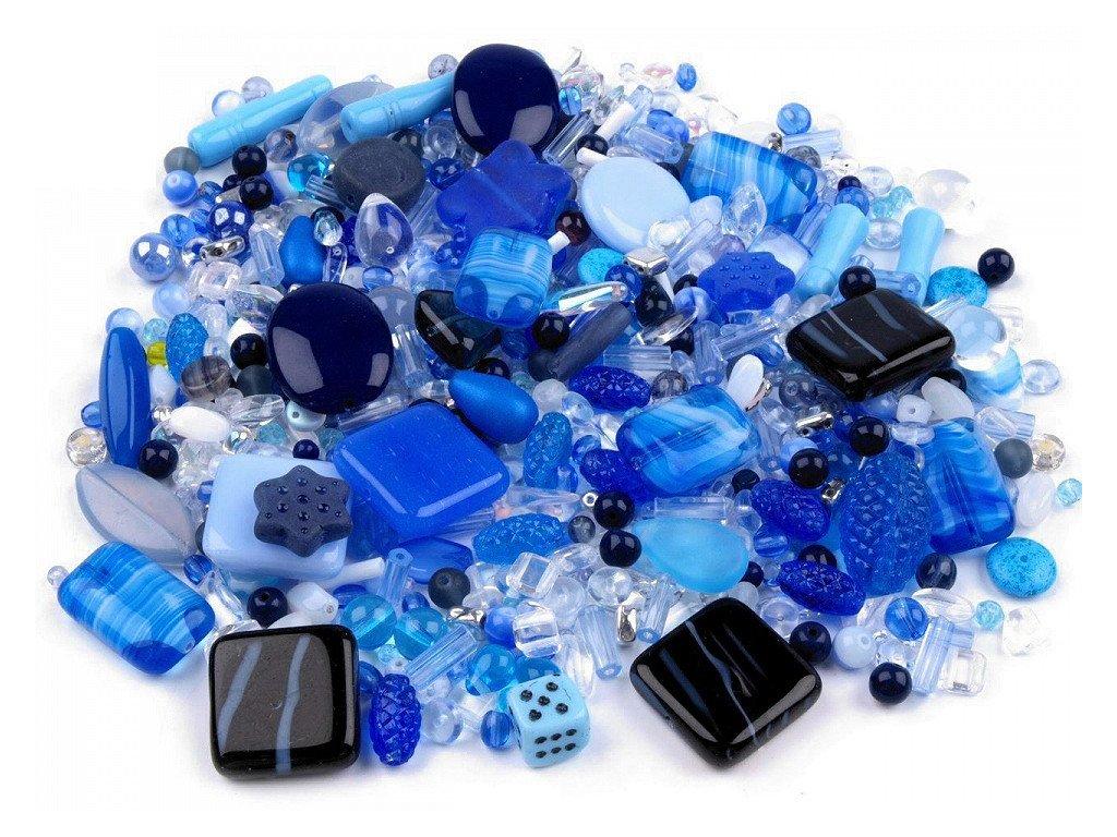 Sklenené koráliky ramš modré 50g