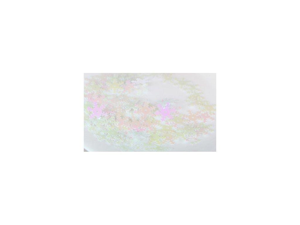 cekiny sniezynki 18mm 5gram biale rozowe mieniace