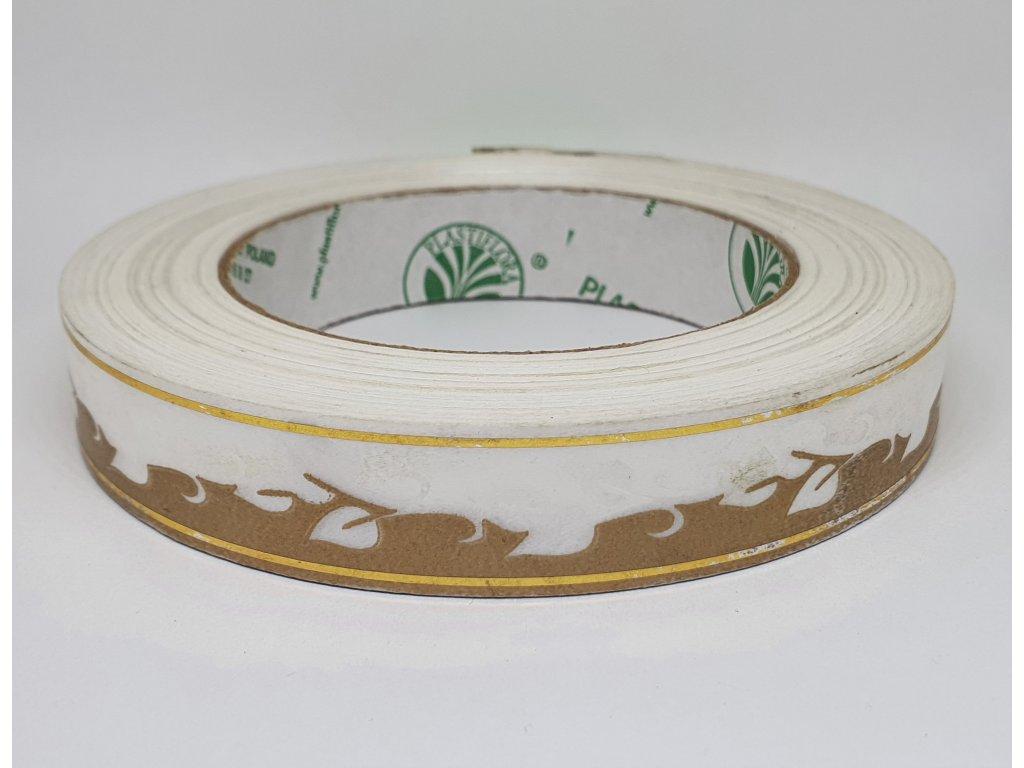 Stuha floristická zlato biela so zlatým lemom 2cm