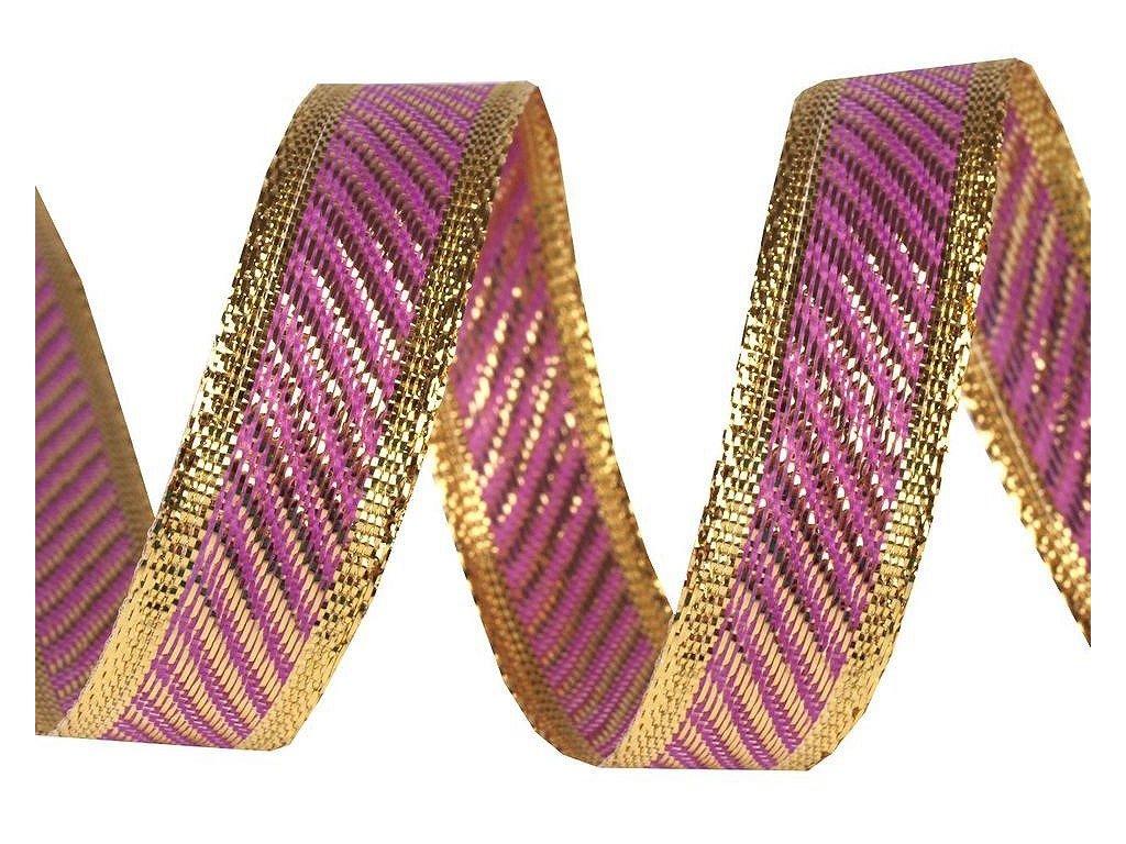 Vianočná stuha fialovo zlatá 15mm