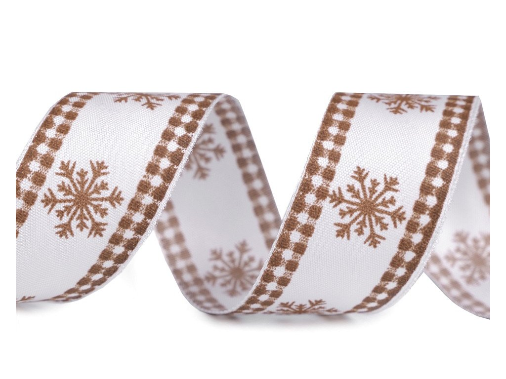 Vianočná stuha s drôtom bielo hnedá 40mm