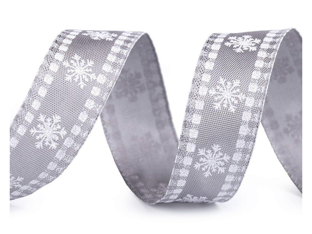 Vianočná stuha vločky s drôtom 25mm