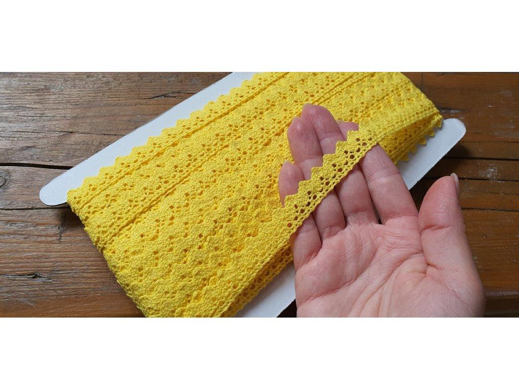 Čipka bavlnená žltá 15mm