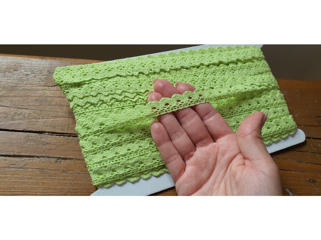 Čipka bavlnená hrášková zelená 15mm