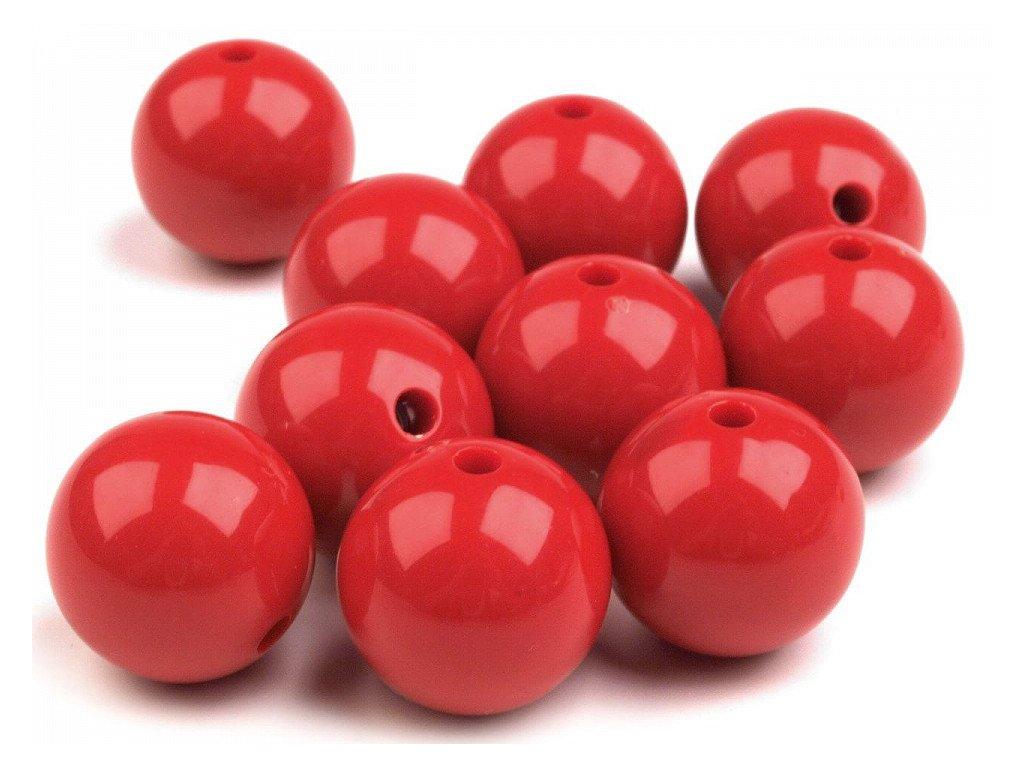 Plastové koráliky Ø20mm/10ks červené