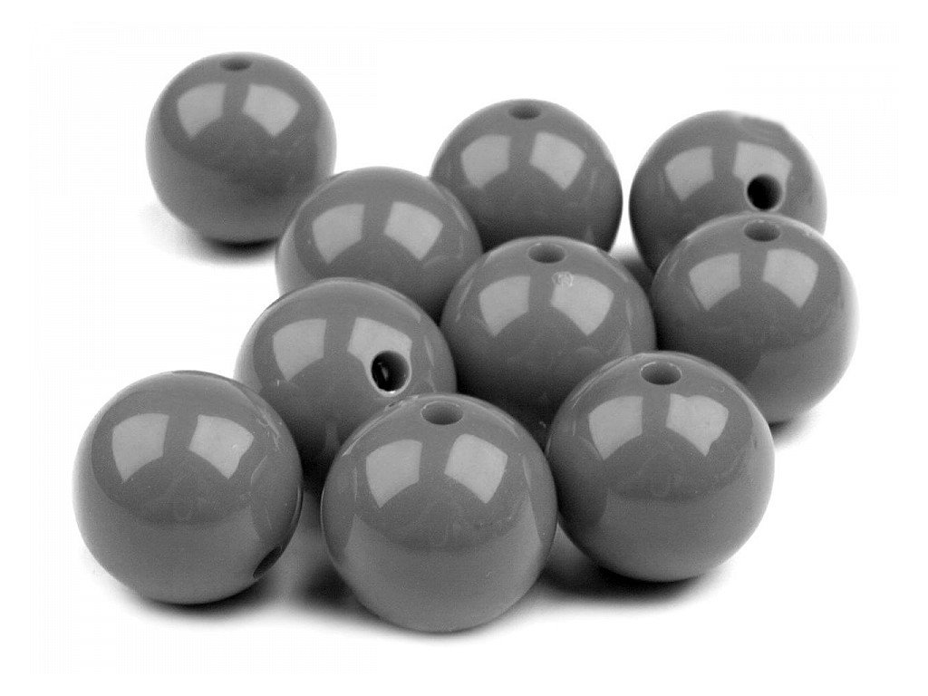 Plastové koráliky Ø20mm/10ks šedé