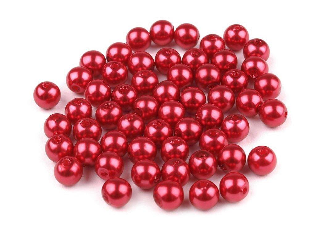 Plastové voskové koráliky Ø6mm/10g svetlé červené