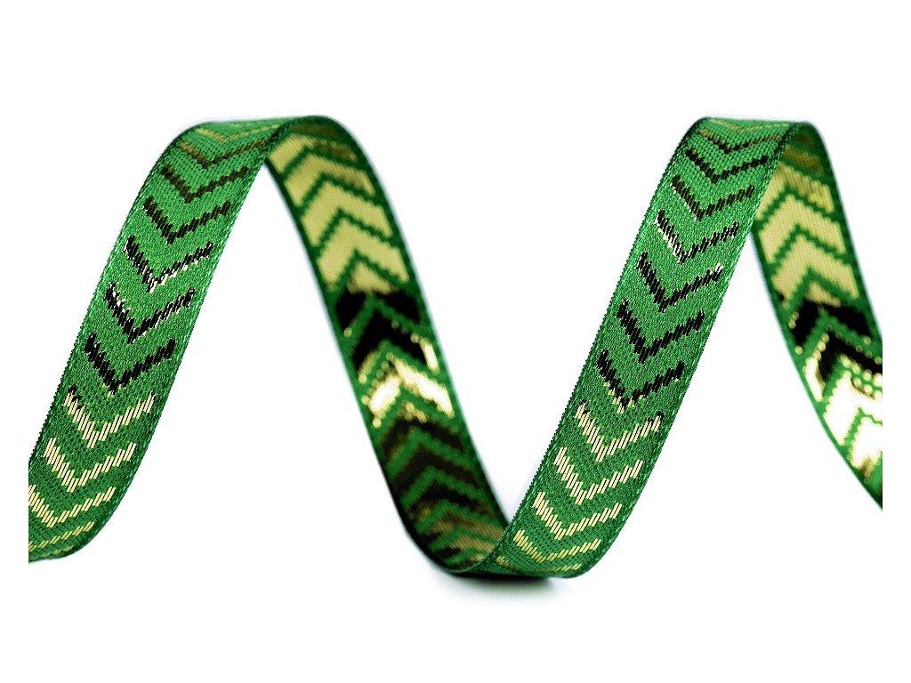 Vianočná stuha s lurexom a vlascom šírka 15mm zelená