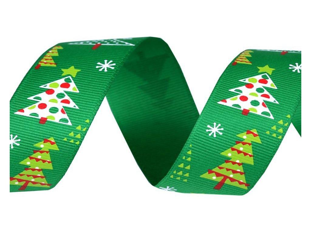 Vianočná rypsová stuha zelená so stromčekom 25mm