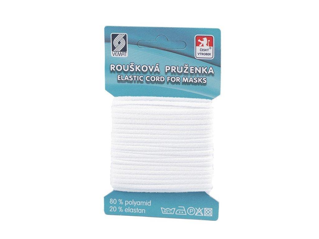 Guľatá gumička rúšková Ø2,5mm mäkká biela