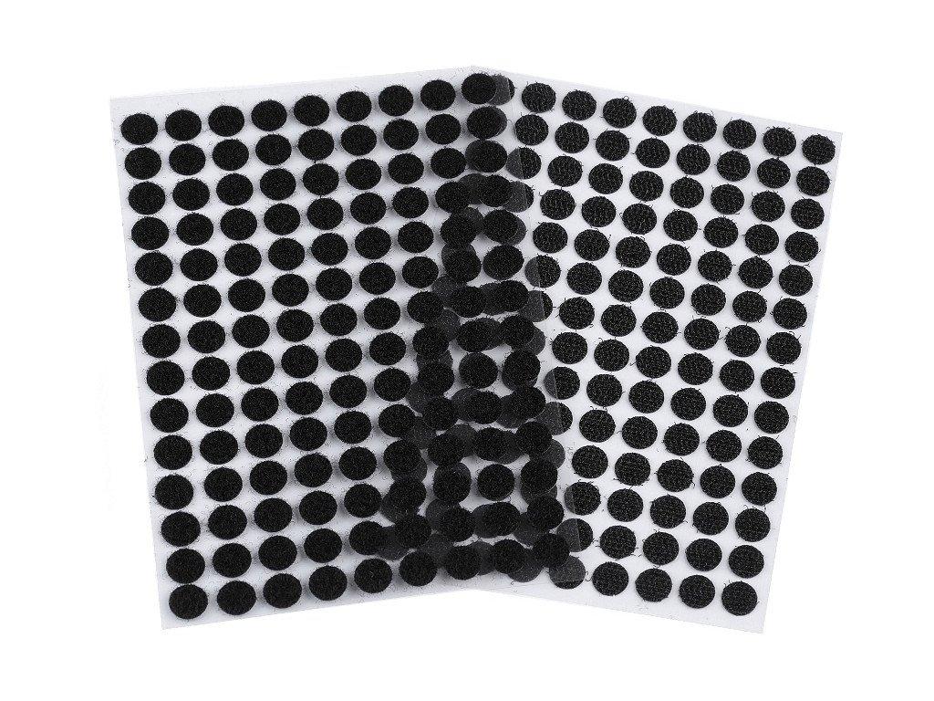 Suchý zips samolepiace kolieska Ø10mm čierne