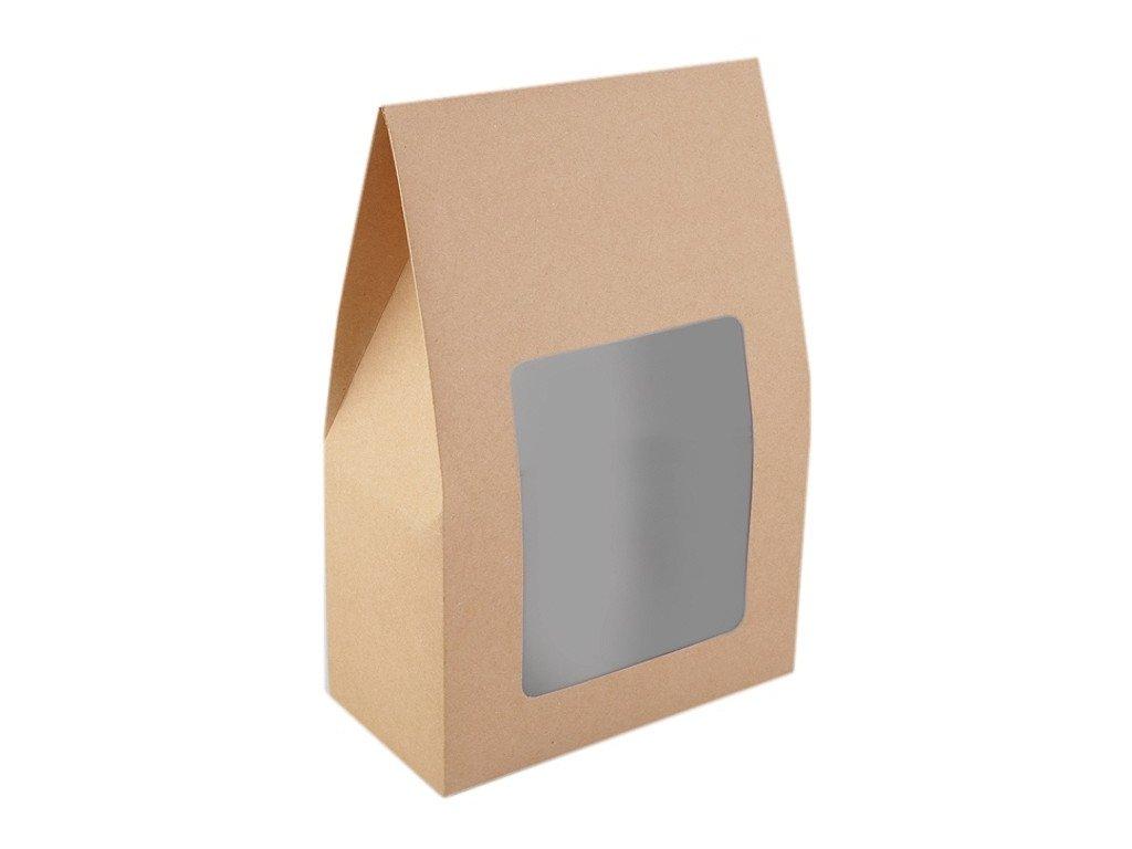 Papierová krabica natural s priehľadom 16x23,5x8cm