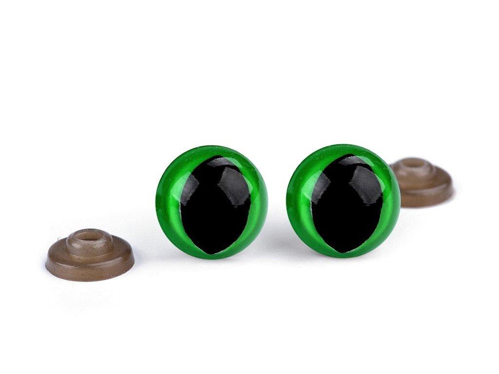 Bezpečnostné oči mačacie Ø14mm zelené