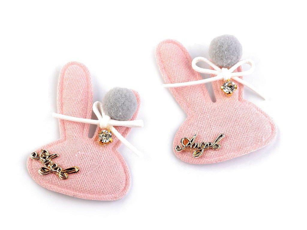 Textilná aplikácia / nášivka zajac s kamienkom 45x62mm ružová