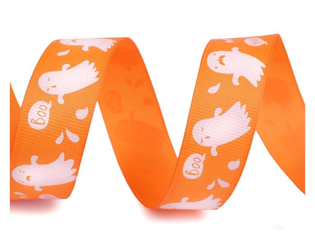 Rypsová stuha halloween 25mm oranžová