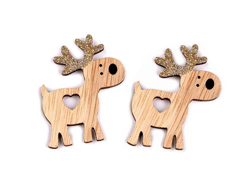 Samolepiaci drevený sob s glitrami