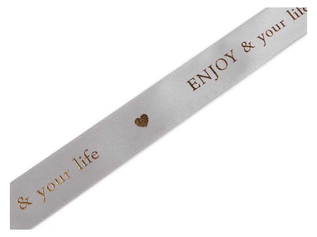 Saténová stuha s metalickou potlačou 26mm sivá