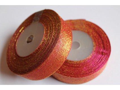 Brokátová stuha 25mm cyklaménovo zlatá 052