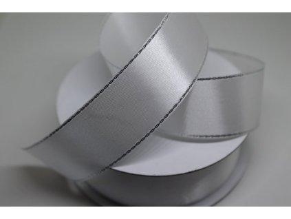Saténová stuha so strieborným lemom 25mm biela 001