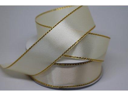 Saténová stuha so zlatým lemom 25mm