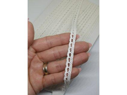 Čipka bavlnená perleťová biela 9 mm