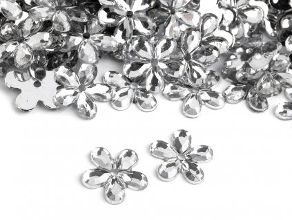 Plastová kvetinka 11mm/20ks crystal