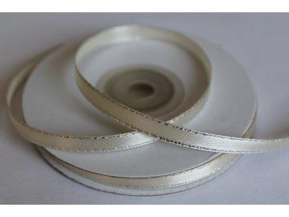 Saténová stuha ivory so strieborným lemom 6mm 011