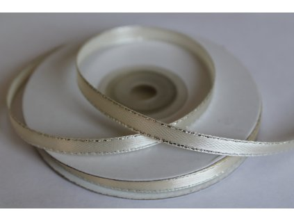 Saténová stuha so strieborným lemom 6mm