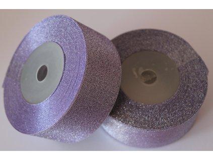 Brokátová stuha 38mm fialová svetlá so strieborným brokátom