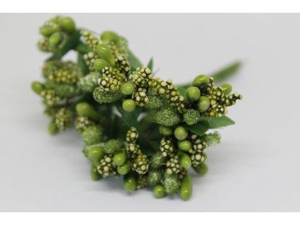 Tyčinky do kvetín s brokátom a zelenými lístkami