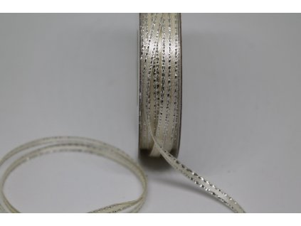 Saténová stuha 3mm/45m slonovinová so strieborným lemom