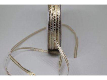 Saténová stuha 3mm/45m biela so zlatým lemom