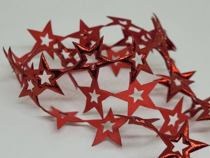 Aplikácia hviezda prázdna 2cm červená