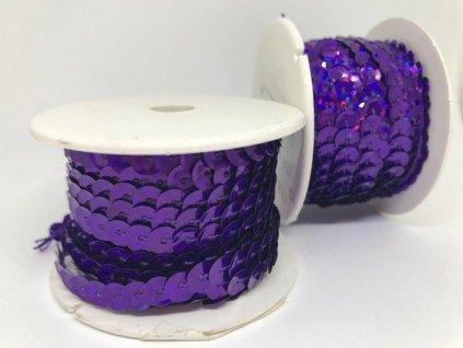 Flitre na šnúre 6mm/9,14m fialové s hologramom