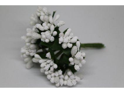 Tyčinky do kvetín s brokátom a zelenými lístkami 001