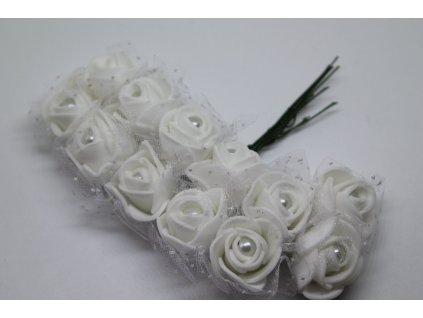 Penové ružičky biele s perličkou a tylom