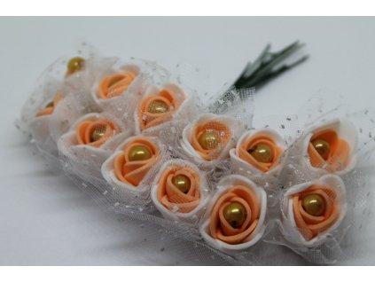 Penové ružičky bielo-lososové s perličkou a tylom