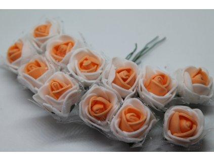 Penové ružičky bielo-lososové s tylom