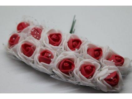 Penové ružičky bielo-červené s tylom
