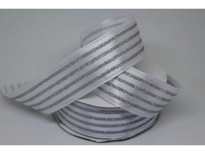 Saténová stuha s brokátovými pásikmi 25mm/9m